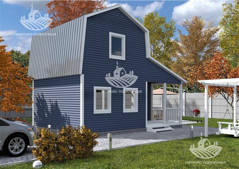 Каркасный дачный дом 4,8x6,8 (50м2) под ключ в Казани цена